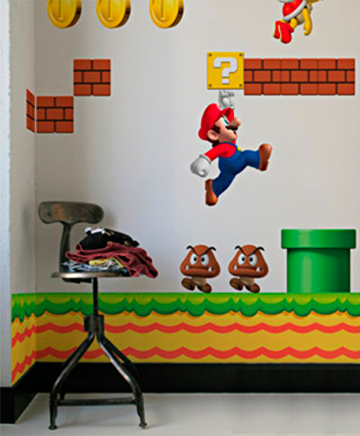 nintendo wall graphics inuse newsupermario Nintendo Wall Stickers